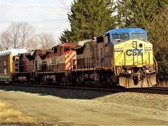 CSXT Q261 - Macedon, NY (RailFireNature2226) Tags: csx rochester sub yn2 q261 bcol dash 9 kcs gray ghost sd70ace railfanning train watching