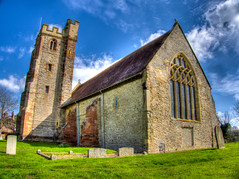 Is God up in the Sky Somewhere? (RS400) Tags: god wow cool wicked travel travek church blue sky edit grass landscape uk worcestershire seven clouds photography is life olympus hdr buildings glass religon tower