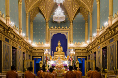 An Evening Chant of Buddhist Monk and Phra Buddha Angkiros in Phra Ubosot, Wat Ratchabophit (aey.somsawat) Tags: architecture bangkok buddhastatue buddhism buddhistmonk buddhisttemple eveningchant people peopleofbangkok phrabuddhaangkiros temple thaiarchitecture thailand ubosot wat watratchabophit westernthaiarchitecture