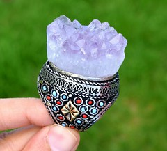 Amethyst-Druzy-Cluster-Crystal-Stone-Kuchi-Ring-Tribal-Silver-Ethnic-Jewelry (CraftEast) Tags: vintage jewelry jewellery afghan kuchi tribal ethnic gothic antique turkmen bohemian gypsy festival stone etsy boho hippie hippy handmade tuareg belly dance amethyst ring druzy cluster quartz