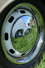 Old and New (sk8geek) Tags: vw wheelcover chrome reflection alloy