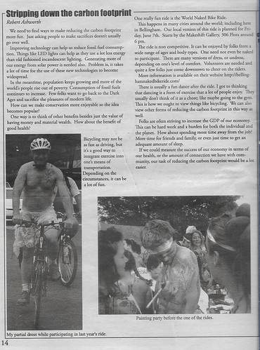 My opinion piece in Betty Pages about June 7th 2019 WNBR ride in Bellingham and stripping down the carbon footprint.
