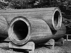 Alice Holt Sculptures-F5180244 (tony.rummery) Tags: aliceholt blackandwhite em5mkii forest hampshire mft microfourthirds omd olympus playpark sculpture structure tubes wooden farnham england unitedkingdom