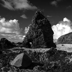 Cruden Bay Seastack (PeskyMesky) Tags: aberdeenshire scotland crudenbay winnyfold seastack landscape monochrome blackandwhite coast cloud canon canon5d eos