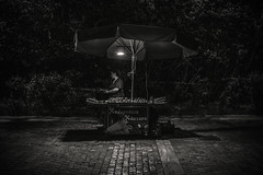 Waiting for customers..... (Dafydd Penguin) Tags: blackandwhite blackwhite black white mono monochrome bw street candid night shots after dark hawks nighthawks urban city town athens greece acropolis leica m10 summicron 35mm f2 food vendor
