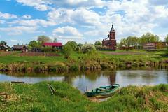 Village (gubanov77) Tags: river village tezariver dunilovo landscape russia sky clouds boat travelphotography travel stream water