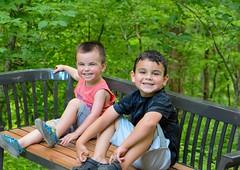 Gus and Hank (tduaneparker) Tags: nikon tamron2875mmf28 nikond7100 hiking family boys smile bench kentucky naturallight park nature child portrait