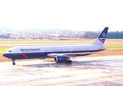 British Airways Boeing 767-300; G-BNWD@ZRH;03.02.1996 (Aero Icarus) Tags: zrh zürichkloten zurichairport zürichflughafen lszh plane avion aircraft flugzeug negativescan