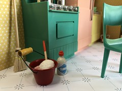 2. Angie's kitchen (Foxy Belle) Tags: miniature doll dollhouse 112 scale kitchen pink aqua yellow plastic mod 1960s modern mid century retro chrome deluxe reading multicolor appliances vintage toy