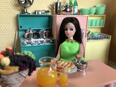 4. Nervous (Foxy Belle) Tags: miniature doll dollhouse 112 scale kitchen pink aqua yellow plastic mod 1960s modern mid century food breakfast dishes angie dawn 1970s colorful dark hair brunette retro chrome deluxe reading multicolor appliances vintage toy