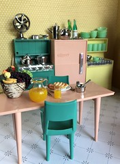3. Angie's kitchen (Foxy Belle) Tags: miniature doll dollhouse 112 scale kitchen pink aqua yellow plastic mod 1960s modern mid century food breakfast dishes retro chrome deluxe reading multicolor appliances flea market finds bargains vintage toy