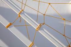 Ropes in Naoussa, Paros, Greece (josullivan.59) Tags: 2019 europe greece naoussa paros cyclades goldenhour islands knots light lightanddark minimalism rope stairs street sunset sunsetlight travel wallpaper white yellow evening texture outside pattern abstract shadow day detail clear nicelight geometric