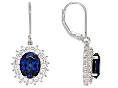 Blue lab created sapphire rhodium over silver earrings 5.03ctw (ScarlettSinclaire) Tags: jewelry jtv jewelrytelevision jewelrylove gemstones
