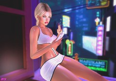 Reading Your Messages Again (alexandra sunny) Tags: avale avada almamakeup catwa maitreya aviglam mina cosmopolitanevent 2ndchanceevent secondlife woman female city night phone