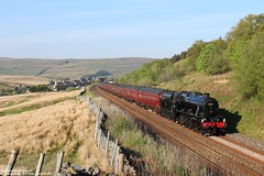 West Coast Railway 48151 + The Dalesman - Garsdale Head (UK) 14-05-2019. (NovioSites) Tags: lms stanier class 8f 8151 steam train trein loc stoomlocomotief locomotive 48151 west coast railway garsdale head uk engeland united kingdom carlisle york 1z41 dalesman yorkshire dales national park rail vintage stoomtrein historic british