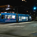 Seattle Streetcar Making A Turn In the Saturday Night
