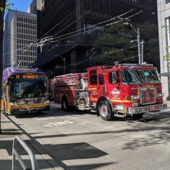 Express routes 13 and 14 on 3rd Avenue (Seattle Department of Transportation) Tags: seattle sdot transportation donghochang metro 14 bus transit firetruck sfd 13 downtown fire department truck red purple gold