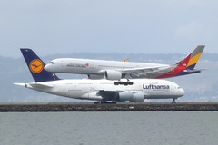Asiana A350 and Lufthansa A380 (photo101) Tags: airbus sfo aircraft