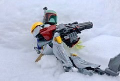 In The Snow (socalbricks) Tags: boba fett bobafett wrist rocket jetpack bounty hunter lego star wars legostarwars cape fountain construction ccbs buildable figure action outdoors 2018 snow scoped scope rifle wait entrenched rock ice cold storm oregon 75533
