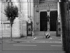 aged Bilbao (fotomie2009) Tags: street people bilbo bilbao spain spagna paísvasco paesi baschi portone portale portal portail door church chiesa monochrome monocromo bw bn san francisco de asís iglesia