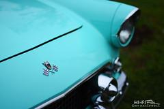 aqua bird (Hi-Fi Fotos) Tags: 1957 ford thunderbird tbird vintage aqua turquoise blue teal chrome hood badge americana classiccar 50s nikkor 50mm 14 nikon d7200 dx hififotos hallewell