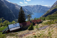 Norway in a nutshell..... (Siggi007) Tags: kjeåsen eidfjord norway farm mountains mountainside mountain nature paysage landscape natur amazing view scenery buildings old museum tourists fjord fjords sea sky clouds grass living abandoned colors trees water environment tranquil travel tourism uniq outdoors panorama awesome seaside scandinavia serene scene snow spring landschaft canoneos6d contrasts vieux valley beautiful blue noruega norge naturaleza norwegen mood mountainsides hardanger