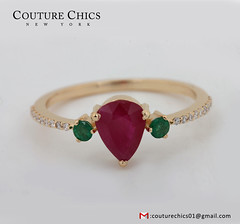 Certified Diamond Emerald Ruby Engagement 18k Solid Yellow Gold Ring New Jewelry (couturechics.facebook1) Tags: certified diamond emerald ruby engagement 18k solid yellow gold ring new jewelry