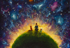 Original oil painting Little prince and fox and Red Rose sitting on grass under starry sky. (Painting by Rybakow) Tags: original oil painting little prince fox red rose sitting ongrass under starrysky colorful illustration princelittle tale fairy sky space love child fantasy friendship planet loneliness characters book fun childhood picture night blue art person flower hair stars nature dream boys boy artwork watercolor pastel gift style graphic artistic creativity impressive paper sketch littleprince fairytale redrose grass acrylic fineart creative contemporary brush modern impressionism handdrawn paletteknife texture
