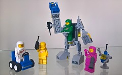 Classic Space - All together now (toastergrl) Tags: lego classic space movie 2 lenny kenny jenny benny yvenny exo suit traffic control sled galaxy spearhead cruiser set mod moc