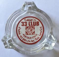 SNAP'S 33 CLUB PORTOLA CALIF (ussiwojima) Tags: snaps 33 club bar cocktail lounge portola california glass advertising ashtray