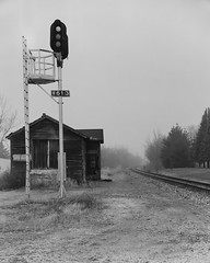 Signal and Depot - Genoa, IL (Christopher J May) Tags: train railroad station depot illinoiscentralrailroad canadiannationalrailroad genoa illinois il 8x10 largeformat film ishootfilm korona8x10 12inchcommercialektar ilfordhp5