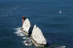 (and the moon rose) Tags: isleofwight uk england alumbay theneedles lighthouse needleslighthouse boat cliff sea