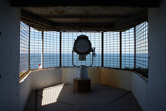 (and the moon rose) Tags: isleofwight uk england alumbay lighthouse needleslighthouse needlesbatteries oldbattery searchlight sea