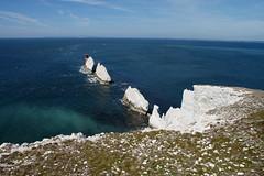 (and the moon rose) Tags: isleofwight uk england alumbay theneedles lighthouse needleslighthouse cliff sea