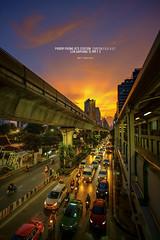 Sunset time in Sukhumvit road (nat_panviroj) Tags: bangkok sukhumvit