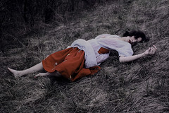 (Nynewe) Tags: red skirt lips fairy tale melancholia self nynewe michaela knizova old slovak meadow romanticism sentimental sentimentality frail fragile girl feminine woman amor fati gloomy mysterious