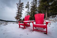 National Parks Furniture (_Matt_T_) Tags: lakeminniwanka getoutside chair nationalpark banff red improvementdistrictno09 alberta canada
