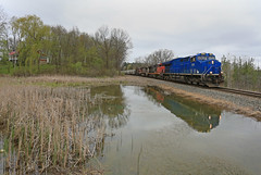 Sand Train (GLC 392) Tags: gecx general electric demo demonstrator et44ac c449wl ac4400cw cp atsf cn canadian national pacific santa fe bnsf burlington northern warbonnet warhammer 2038 2516 671 9716 c449w holly mi michigan pond house reflection trees clouds