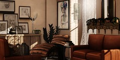 Warm memories (Alexa Maravilla/Spunknbrains) Tags: foxwood kustom9 ik boardwalk 22769 theliaisoncollaborative contrast dad brocante mithral secondlife sl indoors deco home house decoration brown virtualliving virtualworld 3dmesh sofa chair lounger pictures frames