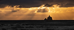 Tillamook Rock Lighthouse (Greg Adams Photography) Tags: lighthouse light sunset dusk sunbeams pacificnorthwest pacific ocean waves travel roadtrip beach shore coast clouds sky seascape foam twilight