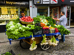 Street Vendor (Oktay A) Tags: streetvendor vegetable garlic lemon carrot lettuce cucumber greenpepper radish streetphotography lgv30 street turkey sokak mobiography cellphoneart mobileart cellphonephotography v30 lgv30plus