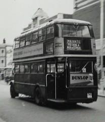 London transport STL506 Acton high street August 1954. (Ledlon89) Tags: stl stlbus aecregent aec regent lptb lt lte londontransport londonbus londonbuses bus buses london vintagebuses oldlondon 1954