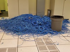 Under Floor Cleanup (cjacobs53) Tags: jacobs jacobsusa blue cat6 cable trash can computer pile 119picturesin2019 annual scavenger photo hunt yearly picture