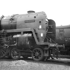 Crewe North, 70044 Earl Haig (Garter Blue) Tags: steam riddles britannia pacific film monochrome black white bw 1960s loco shed crewenorth