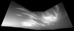 Cloudy Mars 2 (sjrankin) Tags: 21may2019 edited nasa grayscale sky hills mars msl curiosity galecrater haze clouds navcam