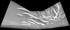 Cloudy Mars 3, variant (sjrankin) Tags: 21may2019 edited nasa grayscale sky hills mars msl curiosity galecrater haze clouds navcam