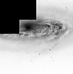 Most of Messier 90, variant (sjrankin) Tags: messier90 21may2019 edited nasa grayscale esa europeanspaceagency hst hubblespacetelescope galaxy m90 stars nebula