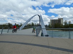 """Bow River Cycle Loop, including Edworthy Park, Prince's Island Park, and Bowness Park - Ben at the """"Skipping Stone"""" bridge (benlarhome) Tags: calgary alberta canada edworthypark bownesspark downtown cycle cycling bike mountainbike"""