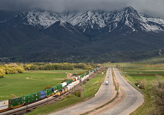 Calm Before the Storm (Carlos Ferran) Tags: storm up union pacific train trains mountain snow spring utah ut green weber canyon railroad freight west is best