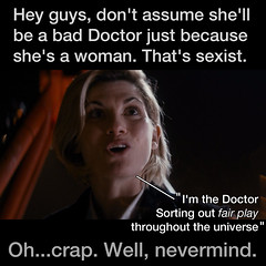 Sorting Out Fair Play — Doctor Who (The Graphic Details) Tags: doctorwho drwho jodie whitaker whittaker chick feminist woke bad stupid sjw face woman female tardis episode 13th doctor pilot series season